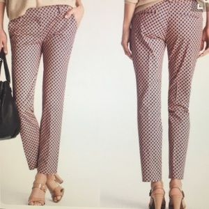 Cafe Capris pants in navy red and beige pattern